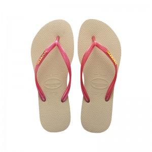 Havaianas papucs. Slim logo metallic beige pink 7389e9a6fd